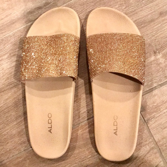 294ec95f2da Aldo Shoes - Aldo gold sparkle Slides